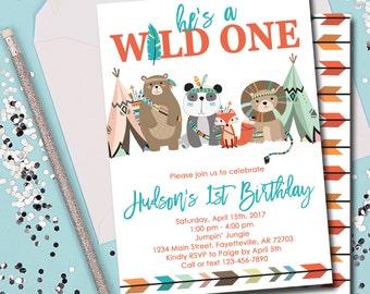 Wild One Invitation, Wild One Birthday Invitation, Tribal, Woodland, Wild One, Birthday Invitation, 1st Birthday, Printable 5x7