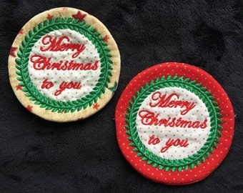 NNC ITH Round Christmas Coaster for the 4x4 hoop in all popular formats