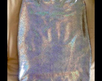 Hologram/metallic high waisted stretch fittted skirt