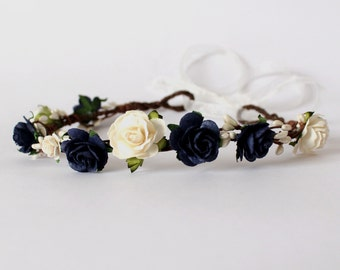 Navy Flower Crown, Navy Rose Pip Berry Floral Crown, Festival Garland, Wedding Flower Crown, Bridal Headband, Floral headpiece