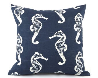 CLEARANCE Navy Blue Coastal Decor Pillow Cover, Choose Your Size, Eurosham, Lumbar Pillow, Seahorse Print, Throw Accent Pillow, Wonders