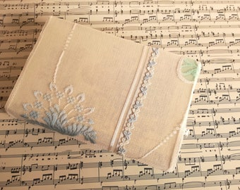 Book cover,paperback book cover, book protector,fabric book cover,padded cover,lace,linen, diary cover, white, blue, flowers