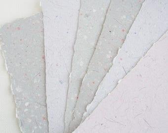 Llama Fibre Paper.  Hand-made, Recycled Paper with Llama Fibre, A5 6 Sheets