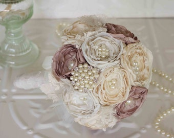Fabric Flower Brooch and Burlap Wedding Bouquet, Ivory, Cream and Dusty Pink Satin, Bridal Bouquet, shabby chic flowers, vintage inspired