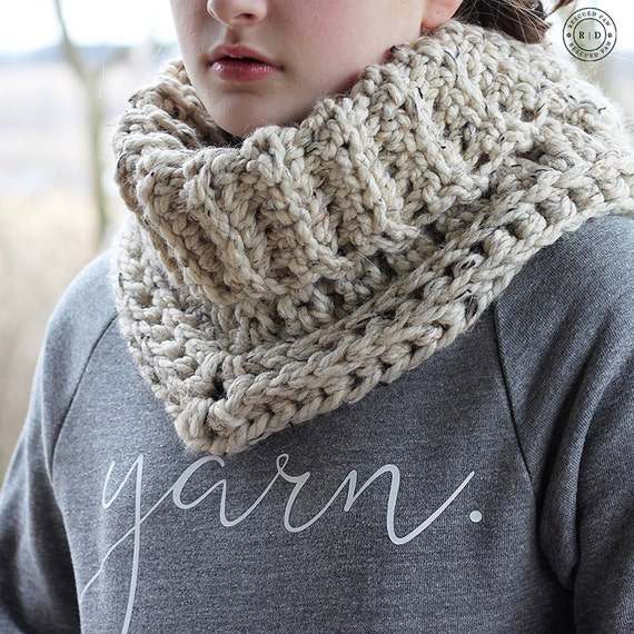 "PDF Crochet Pattern ~The ""Cara"" Cowl Winter Scarf - Crochet Cowl"