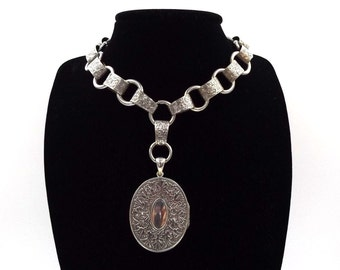 Victorian Locket And Book Chain | Sterling Silver Antique Locket With A Bookchain | Large Engraved Oval Locket Necklace
