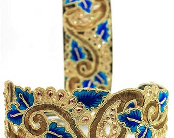 Cutwork Hand Embroidery Trims in Blue Colour, 1 Yard.