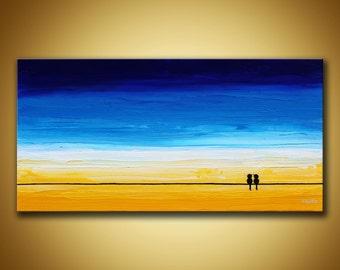 Love birds Painting, Birds on wire Art, Yellow Blue Abstract, Birds Wall Art, Blue Canvas Art, 12x24 Artwork, Love birds decor Beach sunset
