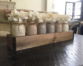 Mason jar centerpiece, mason jar planter box, farmhouse decor, rustic decor, mason jar decor, barn wood decor