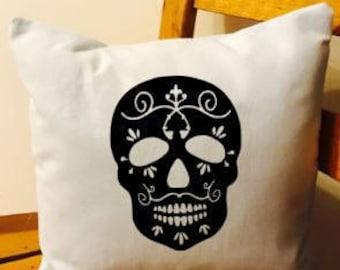 Skull throw pillow, skull cushion, skull home decor