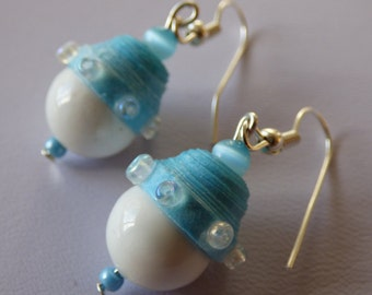 Earrings turquoise blue and white ears - Made in FRANCE