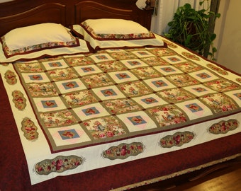 """Handmade, Hand Quilted King / Queen Size Victorian Style Bedding Set - 101"""" x 86"""" Quilt, 2 Shams, Throw, in Rose, Pink, Blue, Green, Cream"""