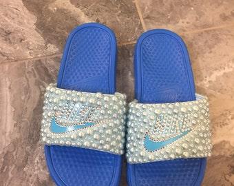 Womans baby blue full bling NIKE Slides