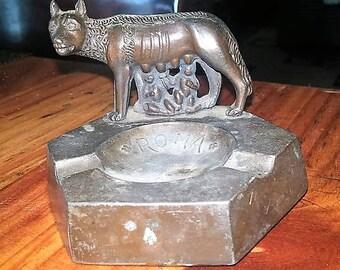 Vintage Romulus & Remus Souvenir Metal Ashtray