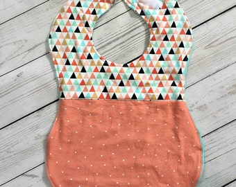 Full Coverage Baby Bib/ Burp Cloth- Two-Toned- Triangles- Pink