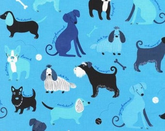 Classy Canines Dogs on Blue Cotton Fabric by Robert Kaufmann