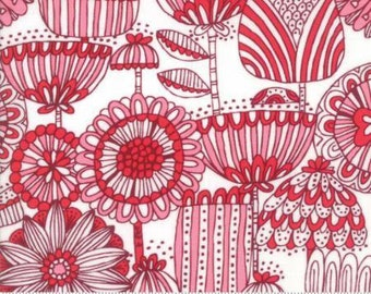 Funny Flower Red on Cream,  Just Another Walk in the Woods by Moda