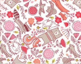 Forest Furries Multi on White cotton fabric,  Just Another Walk in the Woods by Moda