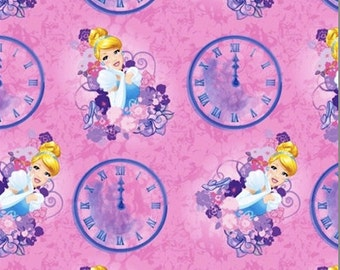 Cinderella Clock and Carriage on Pink cotton fabric by Springs Creative