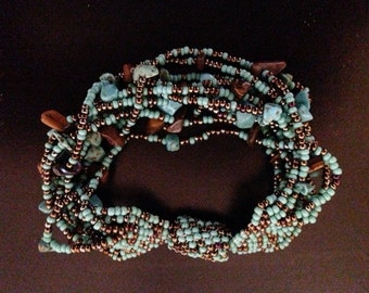 Hand-Beaded 12-Strand Bracelet with Turquoise-Hued and Tiger Eye Chips