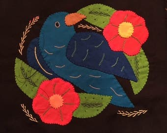 Mola Textile:  Tropical Bird in Blues with Flowers