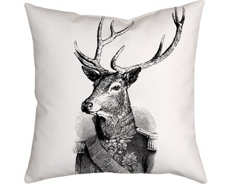 Deer Cushion, Vintage Pillow, Admiral, Illustration, Black and White Decor
