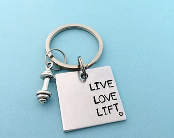 Live Love Lift, Weightlifting keychain, Hand stamped keychain, Barbell keychain, Fitness keychain, Fitness jewelry,