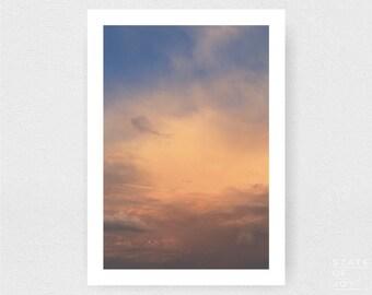 sunset photograph - coastal decor - clouds - pastels - wall art - portrait - square prints   LARGE FORMAT PRINT