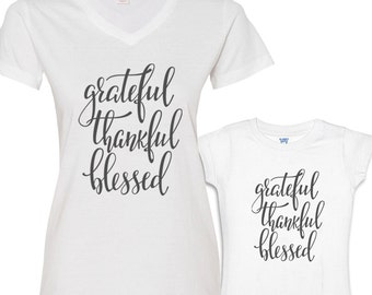 Grateful, Thankful and Blessed Mommy and Me Shirts Set White Shirt/Charcoal Font