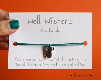 Koala Bracelet   Trust, Relaxation and Concentration  Well Wisher Wish Bracelet BFF Bridesmaid Birthday Friendship Party Australian Nature