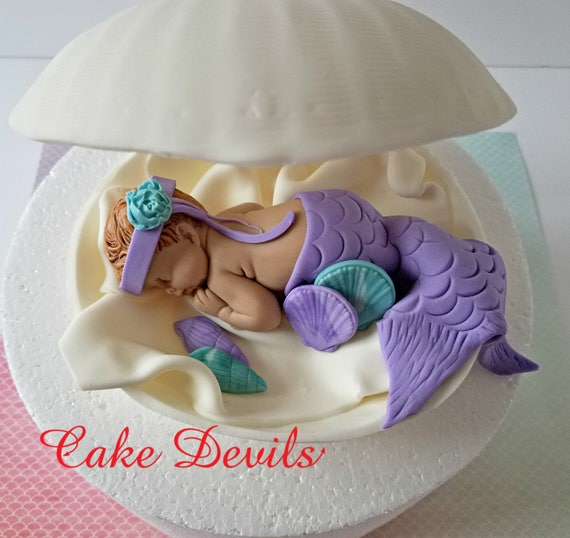 Il_570xn & Mermaid in a Clam shell Baby Shower Cake Topper Fondant Clam shell ...
