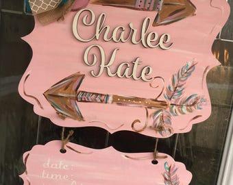 Baby girl door hanger, it's a girl, girl door hanger, baby door hanger, arrows door hanger, pink door hanger
