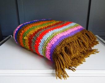 Vintage Afghan Blanket/ Colorful Afghan Blanket/ Striped Afghan/ Retro Afghan/ Knitted Blanket/ 1970s Blanket/ Blanket with Fringe