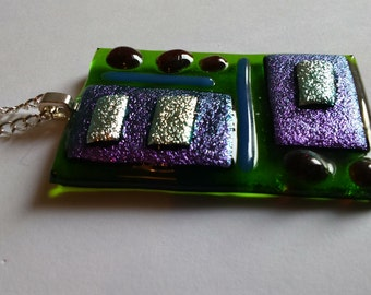 Fused glass pendant on 17 inch silver plate chain - purple, silver, green