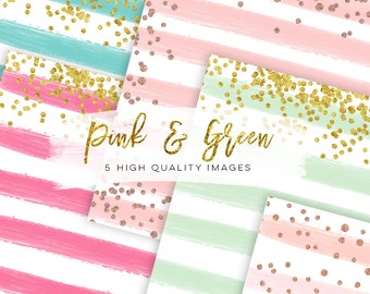 watercolor digital paper pink and green, paper mix watercolor digital paper, Dreamy rose gold digital paper Watercolor, stripe digital paper