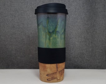 Made to Order(up to 3 weeks)* Clay Travel mug / Commuter mug with silicone lid -DragonFlies - Olive Blue