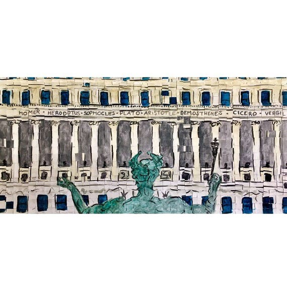 "Columbia University - Butler Library - Alma Mater - Architectural Art - Original Painting 10""x20"""