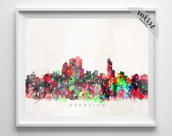 Asuncion Skyline Print, Watercolor Painting, Paraguay Poster, Paraguay Skyline, Cityscape, Wall Art, Home Decor, Dorm Decor