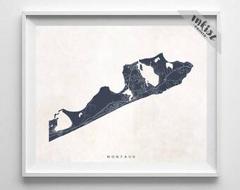 Montauk Map, New York Print, Montauk Poster, New York Art, Office Wall Art, Dorm Artations, Bathroom Wall Art, Dorm Decor