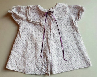 1950s Flannel baby robe/nightie /over