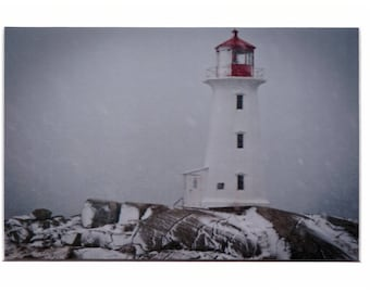"""Peggys Point Lighthouse snowstorm 4""""x6"""" Metallic Print in a 5""""x7"""" matt and ready for you to put in a frame of your choice"""