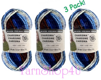 3 PACK LAKESIDE Charisma Loops and Threads yarn, Bulky yarn, Dark shades of Blue Ombre, Blue Variegated Acrylic Chunky yarn, 109yds 3.5oz ea