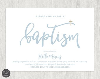 Baby Boy or Girl Baptism | Christening Invitations | DIY | Printable 7x5