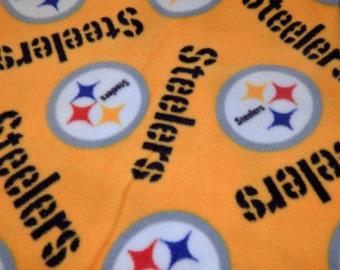 Custom made Throw Blanket with Yellow Pittsburgh Steelers Fleece Fabric- # 413