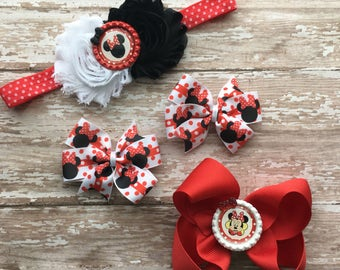 Minnie Mouse Headband - Minnie Mouse Bow - Minnie Mouse Outfit - Minnie Mouse shirt - Minnie Mouse pigtail set