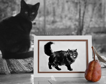 GREETING CARD Black Cat Artistic Giclee Print Ink Painting Mat Frame