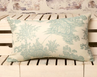 french toile de jouy Cushion// duck egg blue//toile de jouy cushion//toile de jouy pillow//duck egg blue toile de jouy