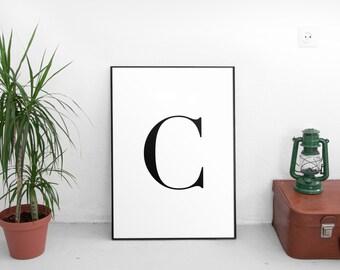 C Letter Print, Wall Art Prints, Printable Art, Alphabet Print, Typography, Black And White, Scandinavian, Minimalist, Wall Decor