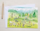 Mountain nature hiking postcard - illustration