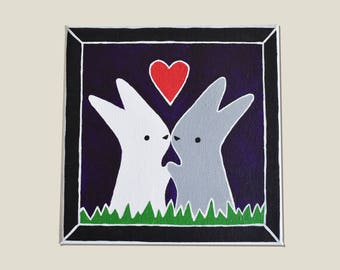 Handpainted Bunny Love Canvas